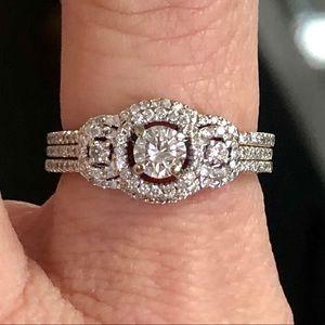 18k Gold 1 Ct 3 Stone Double Halo Diamond Ring